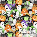 Halloween - sötétben világító pamutvászon (Multi Packed Faces Glow in the Dark)