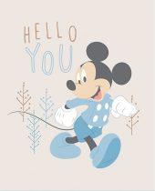 Mickey egér panel blokk bézs háttérrel 56 x 45 cm  (Mickey Little Meadow Multi Panel in Blue)