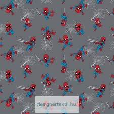 Mini Spiderman Grey cotton by Camelot Fabric