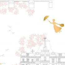 Mary Poppins - Toile White Metallic Camelot Fabric