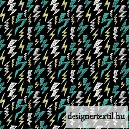 Villámok - pamut jersey  (Glow in the Dark Scribble Lightning Bolt Cotton Jersey)