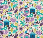 Spring Birds in Custard - camelot fabric quilt cotton