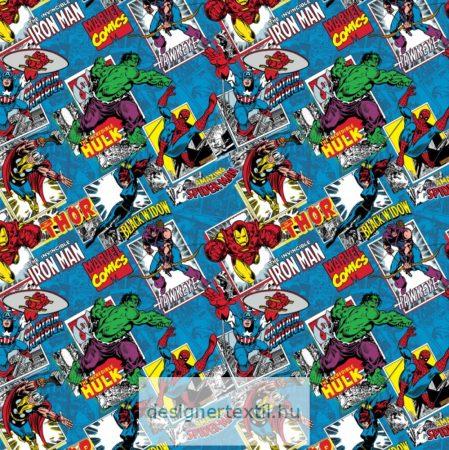 Marvel Comics Burst Blue patchwork cotton by Camelot Fabric