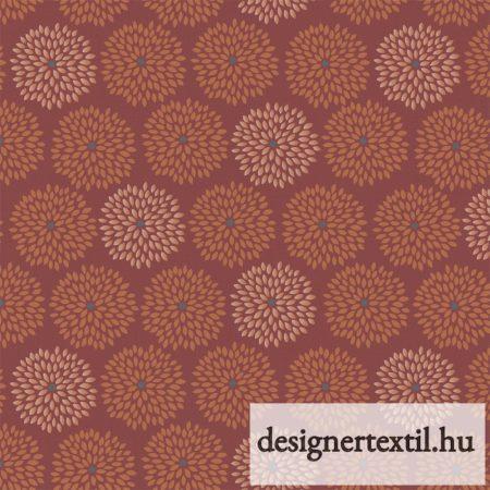 Marsala virágos pamutvászon (Marsala Metallic Copper - Flower Burst)